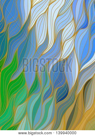 Abstract color background of doodle hand drawn lines. Colorful floral pattern. Wave blue wallpaper