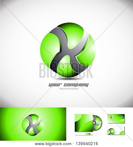 Vector company logo icon element template abstract 3d green sphere games media corporate business