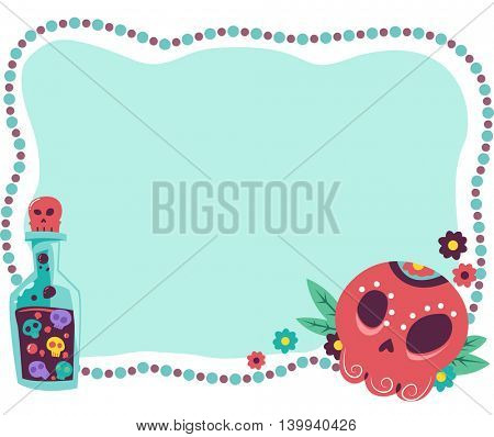 Frame Illustration Featuring a Potion Made from Sugar Skulls