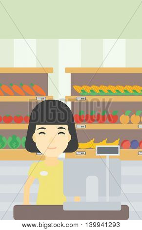 An asian young female cashier standing at the checkout at the supermarket. Female cashier working at checkout at the supermarket. Vector flat design illustration. Vertical layout.