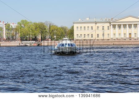 St. Petersburg, Russia - 9 May, Tour boat on the river, 9 May, 2016. Travel types of summer Saint-Petersburg along the Neva River.