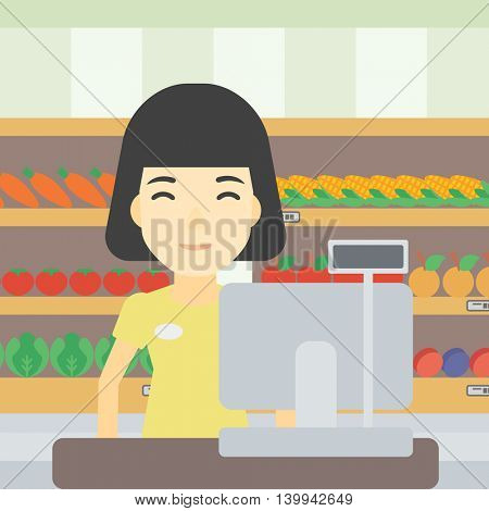 An asian young female cashier standing at the checkout at the supermarket. Female cashier working at checkout at the supermarket. Vector flat design illustration. Square layout.