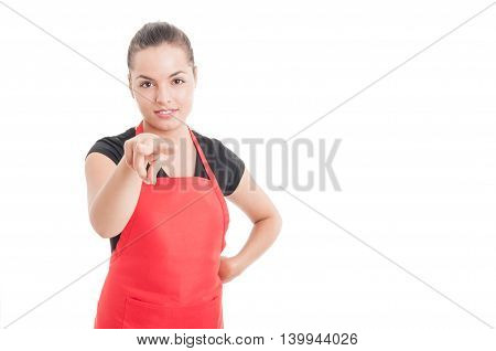 Attractive Female Supermarket Seller Supervising You