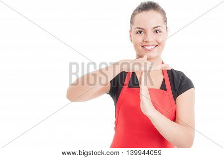 Portrait Of Female Employee Doing Timeout Gesture