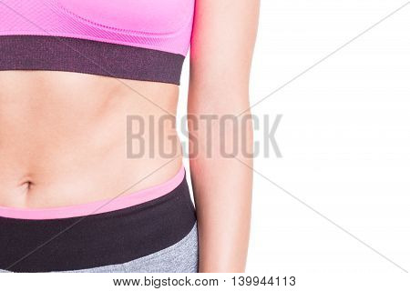 Close-up Of Sporty Abs Of Woman Wearing Bustier