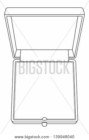 Jewelry box. Vector outline. Illustration isolated on white backgrouond