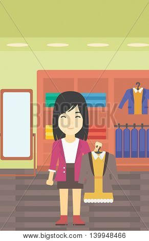 An asian young woman holding hanger with dress and jacket. Woman choosing dress at clothing store. Shop assistant offering suit jacket and dress. Vector flat design illustration. Vertical layout.