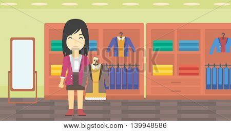 An asian young woman holding hanger with dress and jacket. Woman choosing dress at clothing store. Shop assistant offering suit jacket and dress. Vector flat design illustration. Horizontal layout.