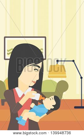 An asian young mother feeding baby boy with a milk bottle. Mother feeding newborn baby at home. Baby boy drinking milk from bottle. Vector flat design illustration. Vertical layout.
