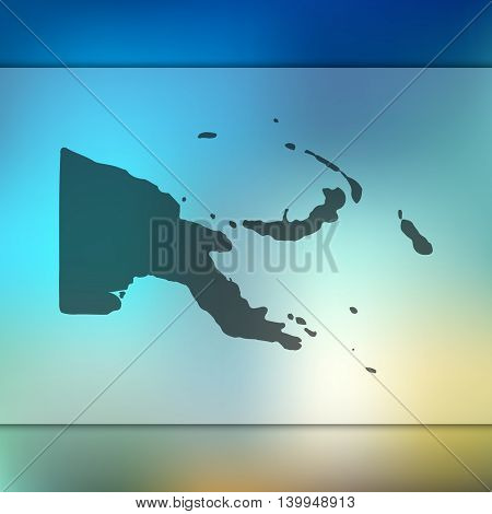 Papua New Guinea map on blurred background. Papua New Guinea. Papua New Guinea map. Blurred background.