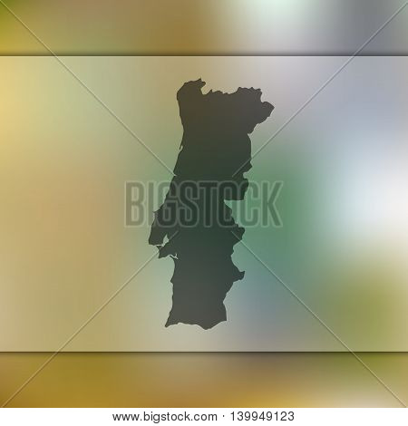 Portugal map on blurred background. Blurred background with silhouette of Portugal. Portugal. Portugal map. Blurred background. Portugal vector map.