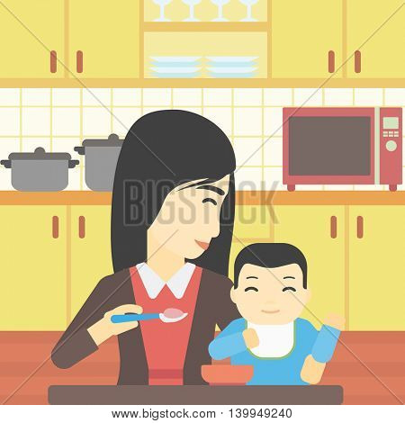 An asian mother feeding baby at home. Young mother teaching baby to eat with spoon. Mother spoon-feeding her baby at kitchen. Vector flat design illustration. Square layout.