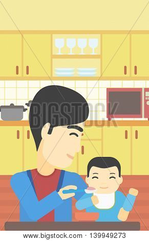 An asian father feeding baby at home. Young father teaching baby to eat with spoon. Father spoon-feeding her baby at kitchen. Vector flat design illustration. Vertical layout.