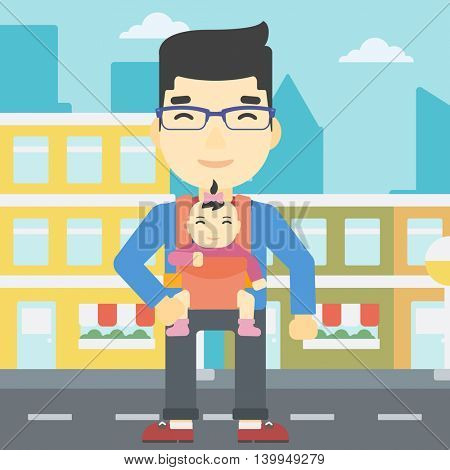 An asian father carrying daughter in sling. Father with baby in sling walking in the city street. Young father carrying newborn in sling. Vector flat design illustration. Square layout.
