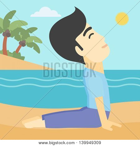 An asian young man practicing yoga upward dog pose. Man meditating in yoga upward dog position on the beach. Man doing yoga on nature. Vector flat design illustration. Square layout.
