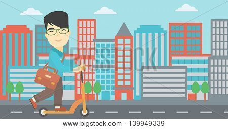 An asian young man riding a kick scooter. Businessman with briefcase riding to work on scooter. Man on kick scooter in the city street. Vector flat design illustration. Horizontal layout