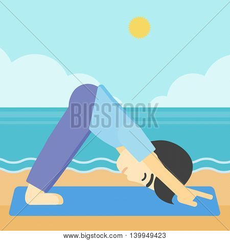 An asian young man standing in yoga downward facing dog pose on the beach. Man doing yoga on nature. Vector flat design illustration. Square layout.
