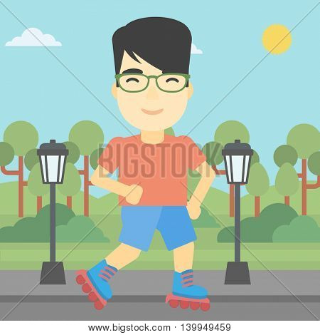 An asian young man on roller-skates in the park. Full length of sportsman in protective sportwear on rollers skating outdoors. Vector flat design illustration. Square layout.