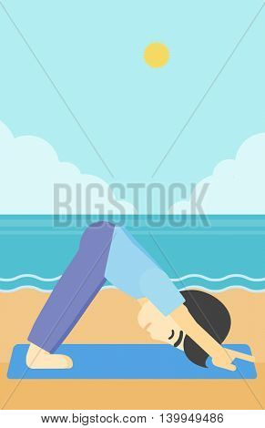 An asian young man standing in yoga downward facing dog pose on the beach. Man doing yoga on nature. Vector flat design illustration. Vertical layout.
