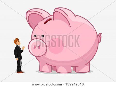 Businessman with big piggy bank. Money savings growth creative illustration. Vector hand drawn characters man and saving bank. Economics business concept
