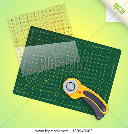 Cutting mat square transparent ruler with inch scale and rotary cutter for quilting and patchwork vector illustration
