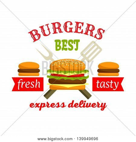Burgers Express Delivery. Fastfood label design. Hamburger and Cheeseburger elements with spatula and fork. Vector fast food graphic elements. Illustration for restaurant, eatery and menu, sign board