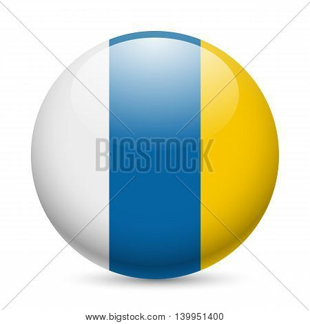 Flag of Canary Islands as round glossy icon. Button with flag colors