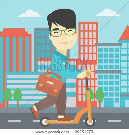 An asian young man riding a kick scooter. Businessman with briefcase riding to work on scooter. Man on kick scooter in the city street. Vector flat design illustration. Square layout.