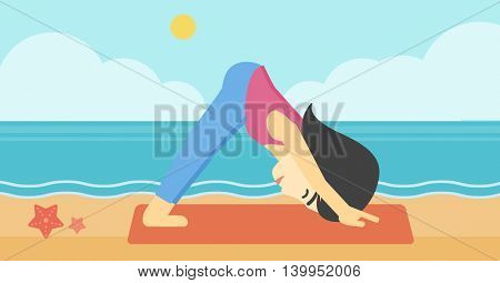 An asian young woman standing in yoga downward facing dog pose on the beach. Woman doing yoga on nature. Vector flat design illustration. Horizontal layout