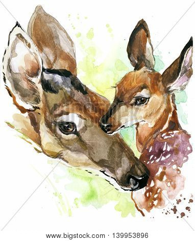 Deer watercolor. Deer and baby fawn. Deer family watercolor illustration. Motherhood watercolor background