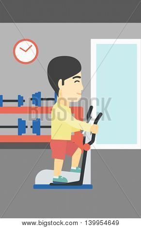 An asian young man exercising on elliptical trainer. Man working out using elliptical trainer at the gym. Man using elliptical trainer. Vector flat design illustration. Vertical layout.