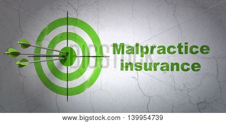 Success Insurance concept: arrows hitting the center of target, Green Malpractice Insurance on wall background, 3D rendering