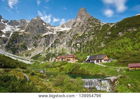 Mountain chalet. Chata pri Zelenom plese in High Tatra Mountains, Slovakia.Mountains in summer.