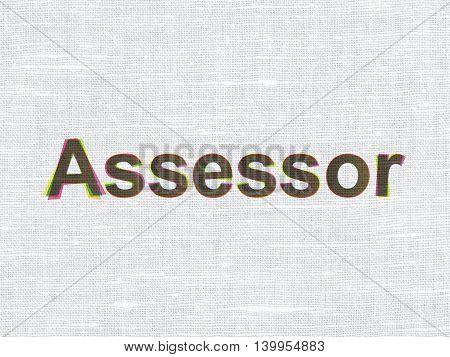 Insurance concept: CMYK Assessor on linen fabric texture background