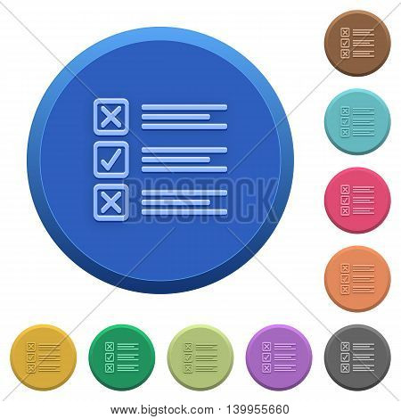 Set of round color embossed questionnaire buttons