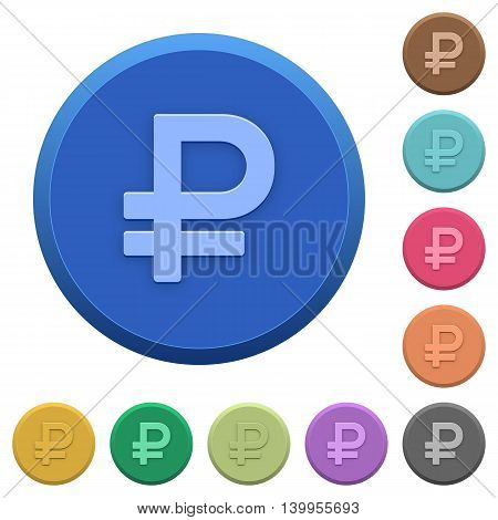 Set of round color embossed Ruble sign buttons