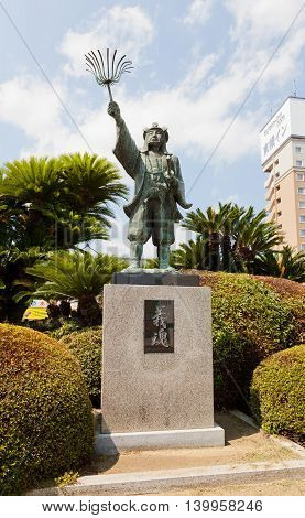 AKO JAPAN - JULY 18 2016: Statue of Oishi Kuranosuke (Yoshio) in front of Banshuako railway station Japan. Oishi Kuranosuke (1659-1703) was a leader of famous 47 loyal samurai (ronin)