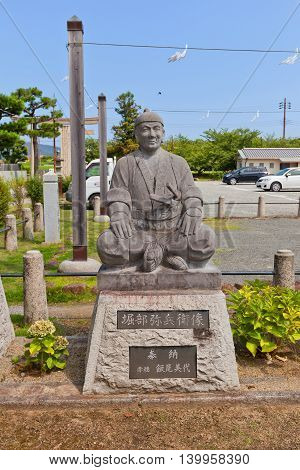 AKO JAPAN - JULY 18 2016: Statue of Horibe Akizane one of famous 47 ronins in the Oishi Shinto Shrine. Shrine is dedicated to 47 loyal samurais and is located on the grounds of Ako Castle