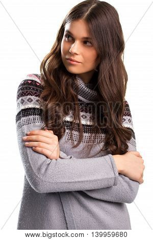 Girl with crossed arms. Serious face of young woman. Think for yourself. Relying on the authority.