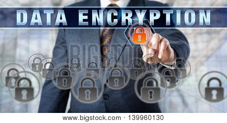 Corporate manager pressing DATA ENCRYPTION on an interactive virtual screen. Business metaphor and information technology concept for cryptography data protection and confidentiality of information.