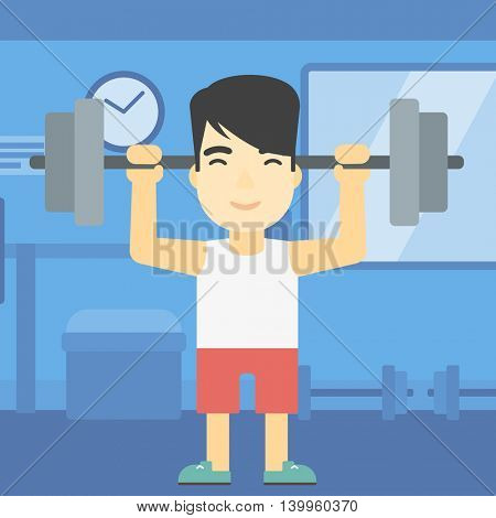 An asian young man lifting a heavy weight barbell. Strong sportsman doing exercise with barbell in the gym. Male weightlifter holding a barbell. Vector flat design illustration. Square layout.