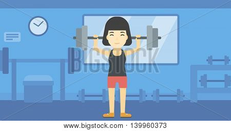 An asian young woman lifting a heavy weight barbell. Sports woman doing exercise with barbell in the gym. Female weightlifter holding a barbell. Vector flat design illustration. Horizontal layout