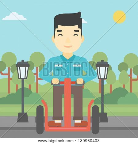 An asian young man driving electric scooter. Man on self-balancing electric scooter with two wheels. Man on electric scooter in the park. Vector flat design illustration. Square layout.