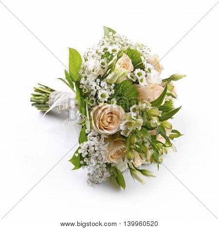 bride's wedding bouquet isolated on white background