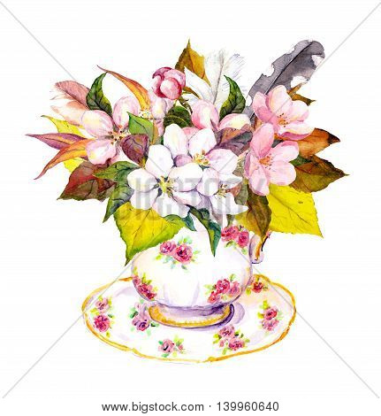 Boho chic tea cup design with autumn leaves, cherry flowers and vintage feathers. Bohoemian watercolor for teatime party