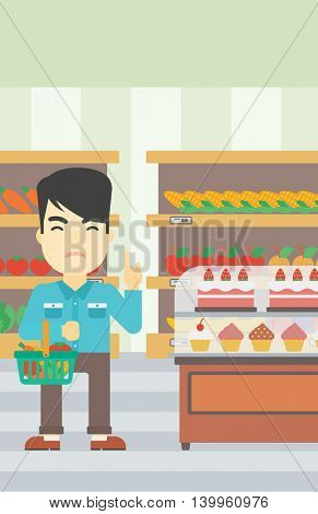 An asian young man holding basket full of healthy food and refusing junk food. Man rejecting junk food in supermarket. Man choosing healthy food. Vector flat design illustration. Vertical layout.