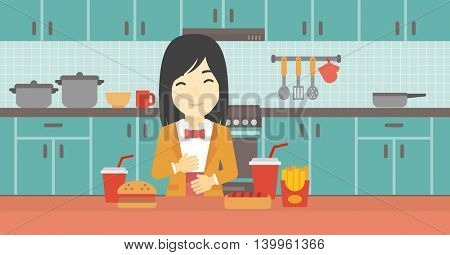 Young woman with eyes closed touching her tummy. Satisfied woman had the best ingestion. Woman standing in front of table with fast food in the kitchen. Vector flat design illustration. Horizontal
