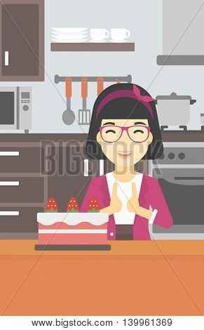 An asian happy woman looking with passion at a big cake. An excited woman standing in front of cake in the kitchen. Woman craving delicious cake. Vector flat design illustration. Vertical layout.