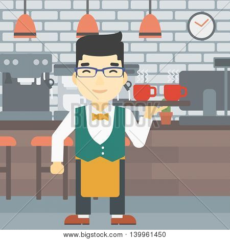 An asian young waiter holding a tray with cups of tea or coffee. Waiter with cups of coffee or tea at the bar. Vector flat design illustration. Square layout.