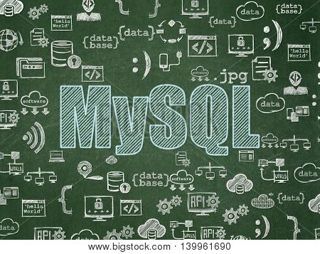 Database concept: Chalk Blue text MySQL on School board background with  Hand Drawn Programming Icons, School Board